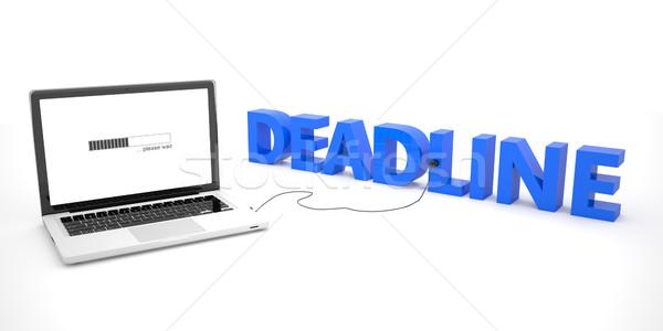 Photo stock: Date · limite · portable · portable · ordinateur · mot · blanche