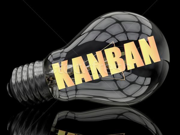 лампочка черный текста 3d визуализации иллюстрация доставки Сток-фото © Mazirama