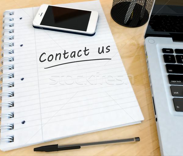 Kapcsolatfelvétel kézzel írott szöveg notebook asztal laptop Stock fotó © Mazirama