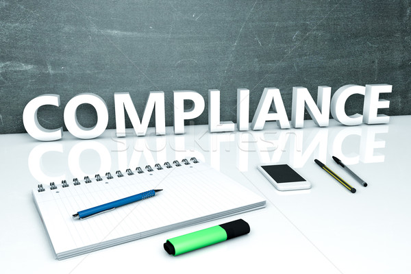 Compliance Text Tafel Notebook Stifte Handy Stock foto © Mazirama