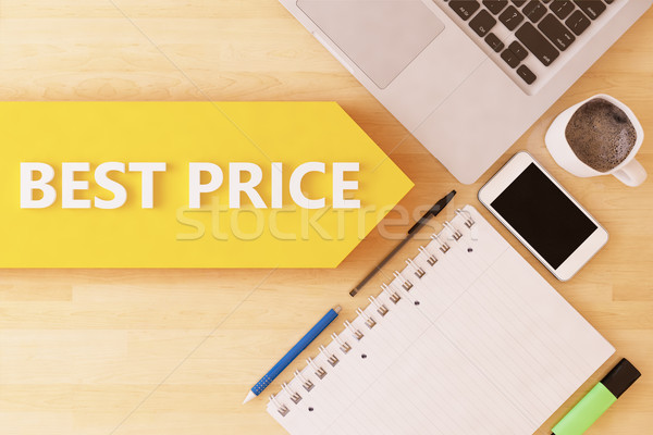 Beste prijs lineair tekst pijl notebook smartphone Stockfoto © Mazirama