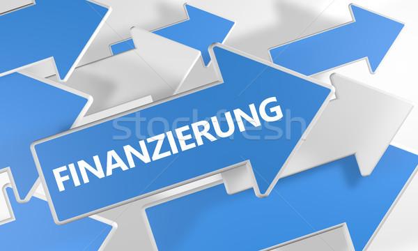Szöveg szó finanszírozás kék fehér nyilak Stock fotó © Mazirama