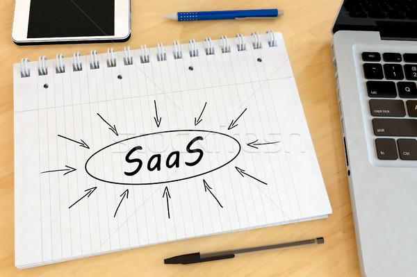 Szoftver szolgáltatás kézzel írott szöveg notebook asztal Stock fotó © Mazirama