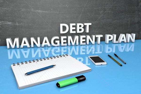 Dette gestion plan texte tableau portable Photo stock © Mazirama