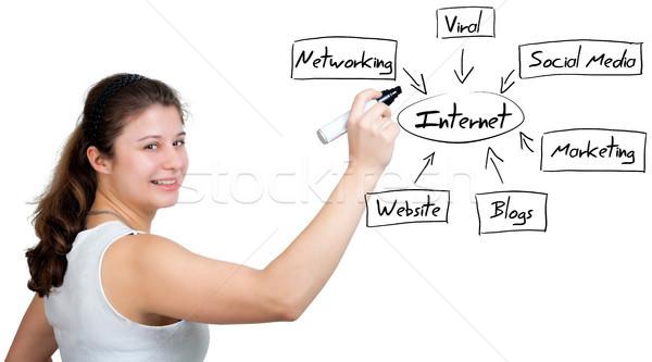 Internet diagram zakenvrouw schrijven business Stockfoto © Mazirama