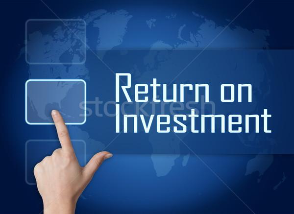 возврат инвестиции интерфейс Мир карта синий бизнеса Сток-фото © Mazirama