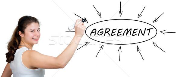 соглашение молодые деловая женщина рисунок информации Сток-фото © Mazirama