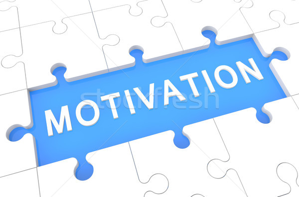 Motivation puzzle rendu 3d illustration mot bleu Photo stock © Mazirama