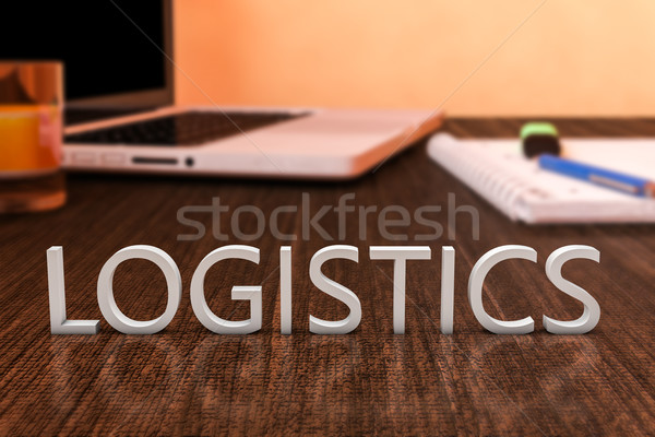 Logistique lettres bois bureau ordinateur portable portable Photo stock © Mazirama