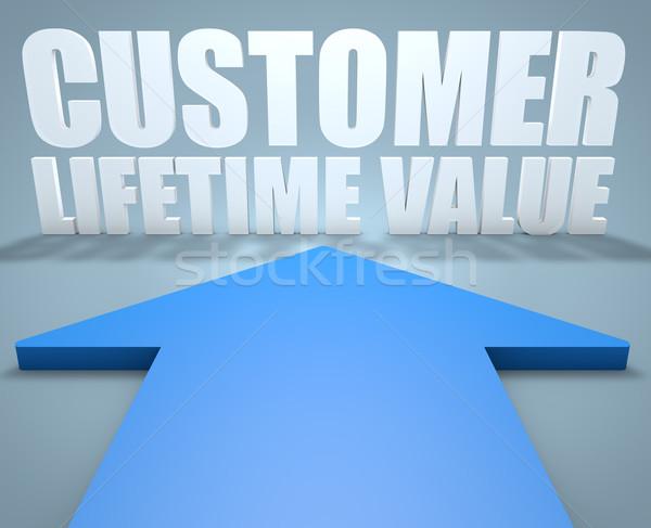 Cliente valor 3d azul flecha senalando Foto stock © Mazirama