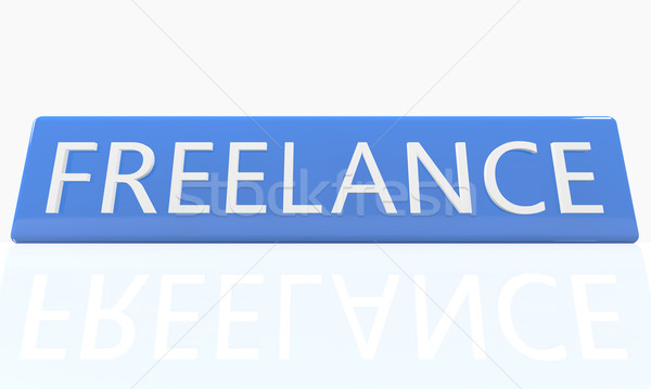 Szabadúszó 3d render kék doboz szöveg fehér Stock fotó © Mazirama