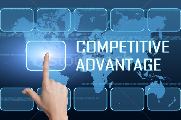 Concurrerend voordeel interface wereldkaart Blauw corporate Stockfoto © Mazirama