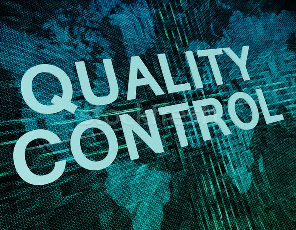Controle de qualidade texto verde digital mapa do mundo negócio Foto stock © Mazirama