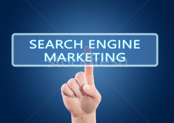 Keresőmotor marketing kéz kisajtolás gomb interfész Stock fotó © Mazirama
