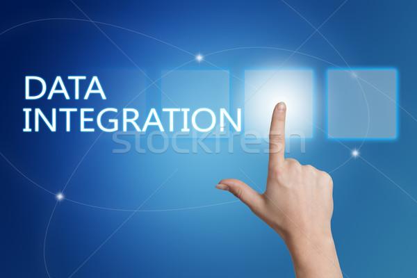 Dados integração mão botão interface Foto stock © Mazirama