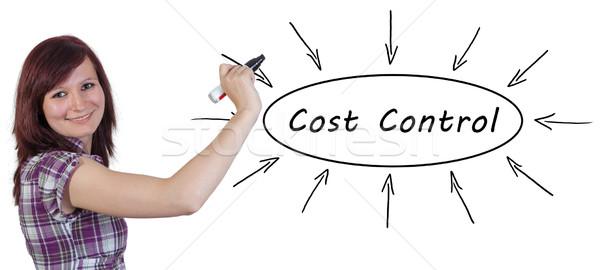 Costo control jóvenes mujer de negocios dibujo información Foto stock © Mazirama