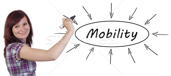 Mobilità giovani imprenditrice disegno informazioni Foto d'archivio © Mazirama