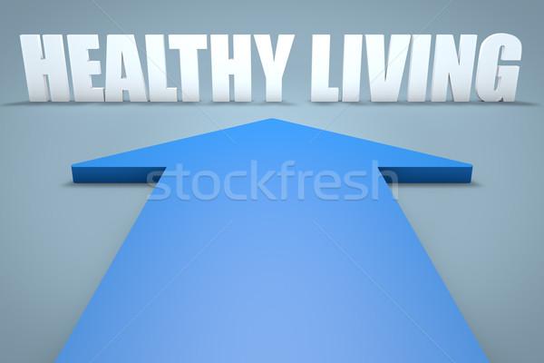Здоровый образ жизни 3d визуализации синий стрелка указывая спортзал Сток-фото © Mazirama