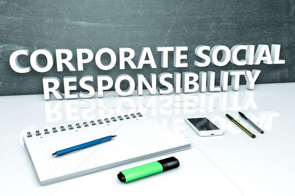 企業 社会 責任 文字 黒板 ノートブック ストックフォト © Mazirama