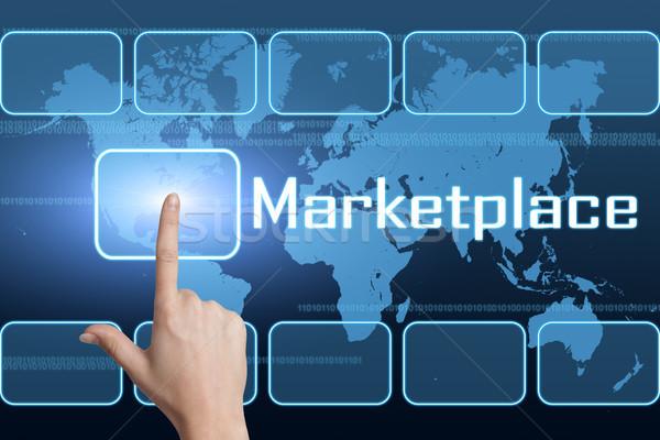 Mercato interfaccia mappa del mondo blu soldi texture Foto d'archivio © Mazirama