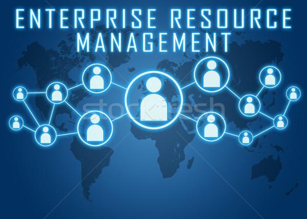 Foto stock: Empresa · recurso · gestão · azul · mapa · do · mundo · social