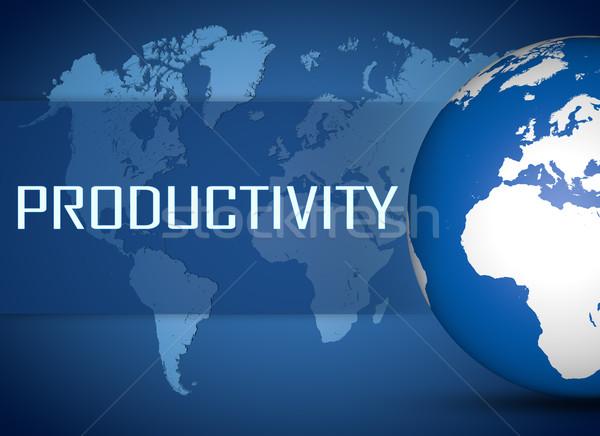 Produktivitás földgömb kék világtérkép üzlet munka Stock fotó © Mazirama