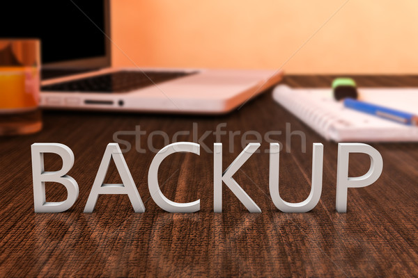 Backup brieven houten bureau laptop computer notebook Stockfoto © Mazirama