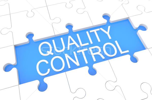 Controle de qualidade quebra-cabeça 3d render ilustração palavra azul Foto stock © Mazirama