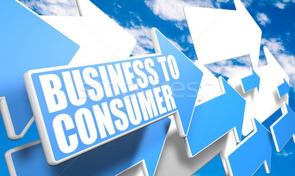 Iş tüketici 3d render mavi beyaz oklar Stok fotoğraf © Mazirama