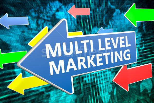 Nível marketing texto azul seta voador Foto stock © Mazirama