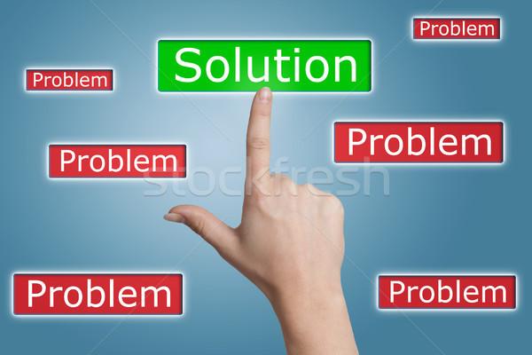 Stock fotó: Kisajtolás · megoldás · gomb · nő · kéz · kék
