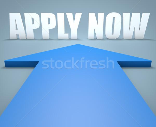 Agora 3d render azul seta indicação assinar Foto stock © Mazirama