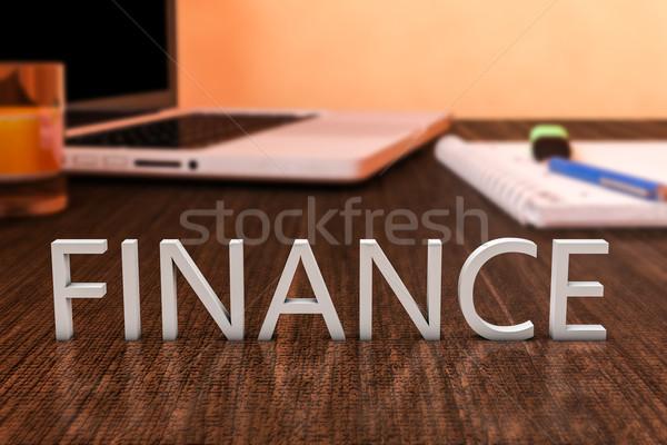 Finanse harfler ahşap büro dizüstü bilgisayar defter Stok fotoğraf © Mazirama