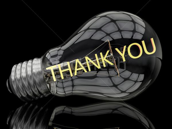 Grazie lampadina nero testo rendering 3d illustrazione Foto d'archivio © Mazirama