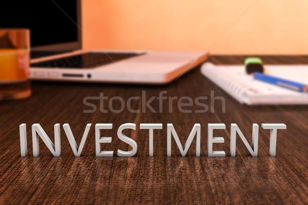 Inwestycja litery biurko laptop notebooka Zdjęcia stock © Mazirama