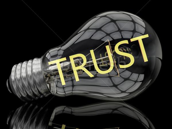 Zaufania żarówka czarny tekst 3d ilustracja Zdjęcia stock © Mazirama
