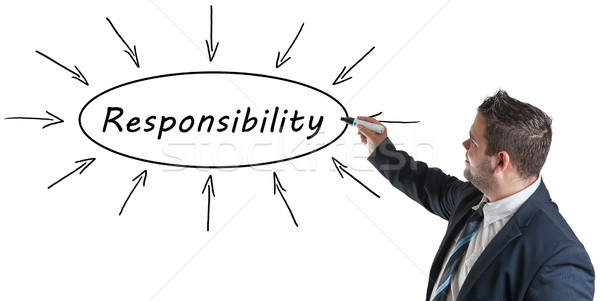 Felelősség fiatal üzletember rajz információ tábla Stock fotó © Mazirama
