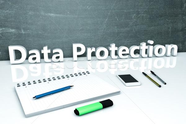 データ保護 文字 黒板 ノートブック ペン 携帯電話 ストックフォト © Mazirama