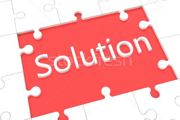 Puzzle soluzione parole rosso sfondo blu Foto d'archivio © Mazirama