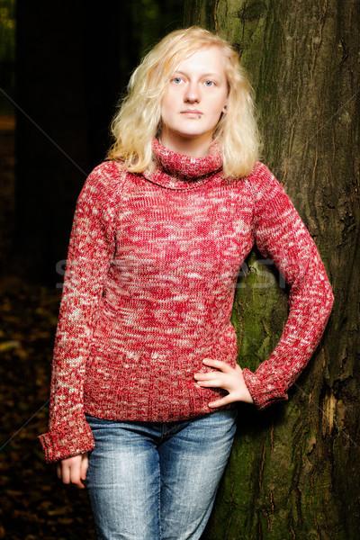 Jonge blond vrouw nacht mooie Stockfoto © Mazirama