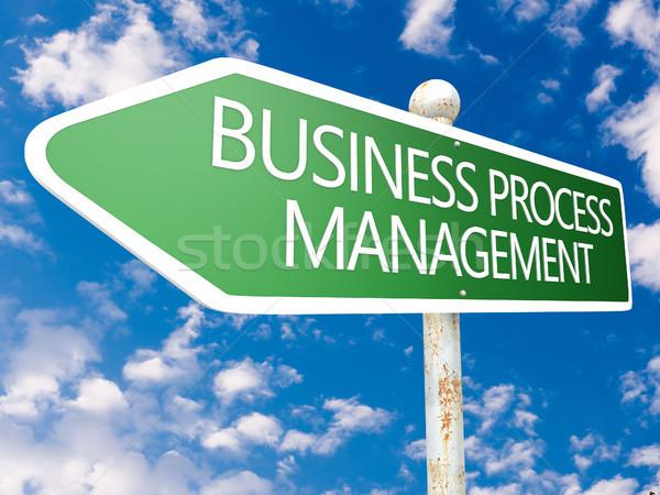 Affaires processus gestion signe de rue illustration ciel bleu Photo stock © Mazirama