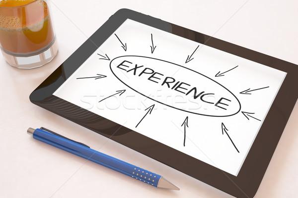 Erfahrung Text mobile Tablet-Computer Schreibtisch 3d render Stock foto © Mazirama