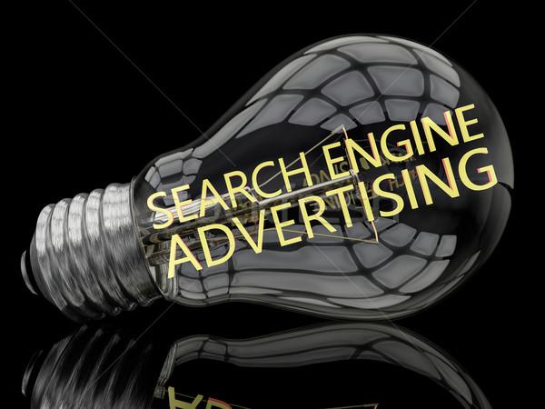 Keresőmotor hirdetés villanykörte fekete szöveg 3d render Stock fotó © Mazirama
