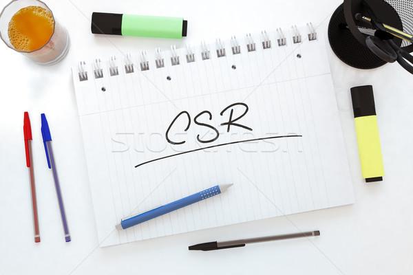 Corporate sociale responsabilità manoscritto testo notebook Foto d'archivio © Mazirama
