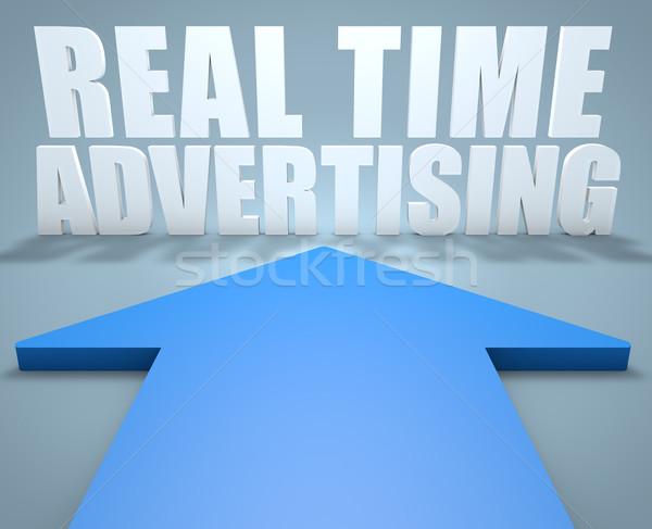ストックフォト: 本当の · 時間 · 広告 · 3dのレンダリング · 青 · 矢印