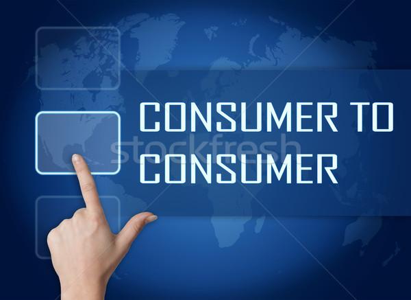 Consument interface wereldkaart Blauw internet brief Stockfoto © Mazirama