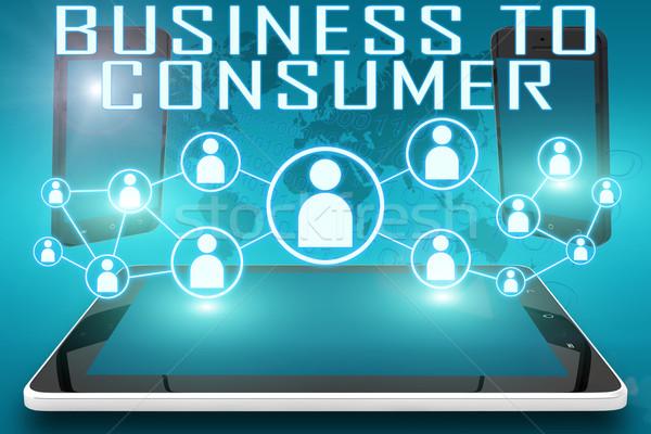 Business consument tekst illustratie sociale iconen Stockfoto © Mazirama