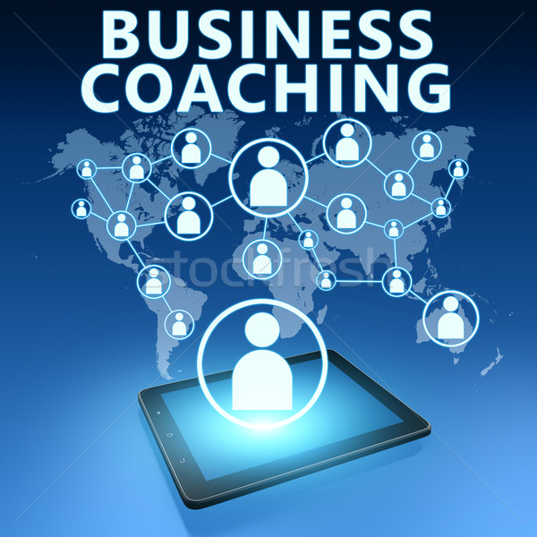 Business Coaching Illustration Tablet-Computer blau Lehrer Stock foto © Mazirama