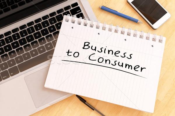 Business consumatore manoscritto testo notebook desk Foto d'archivio © Mazirama