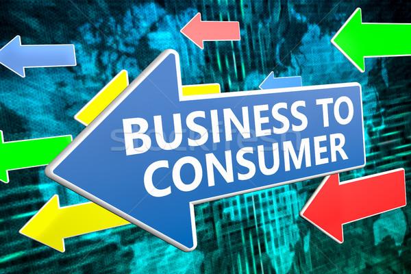Affaires consommateur texte bleu flèche battant Photo stock © Mazirama